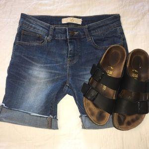 Zara Basic Denim Cuffed Shorts